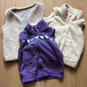 Toddler Girl Purple and Cream Color Vests